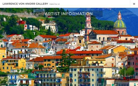 Screenshot of About Page wordpress.com - Artist Information – Lawrence von Knorr Gallery - captured June 7, 2018