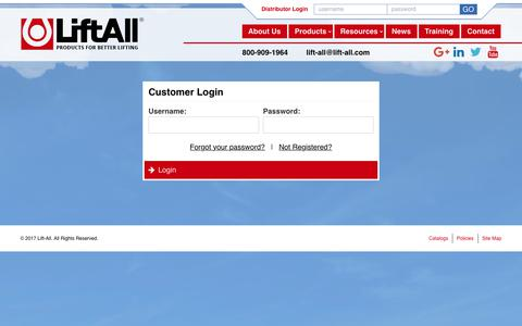 Screenshot of Login Page lift-all.com - Customer Login | Lift-All - captured Aug. 5, 2017