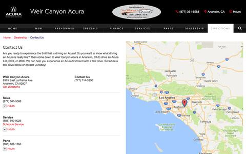 Screenshot of Contact Page Maps & Directions Page weircanyonacura.com - Contact Weir Canyon Acura in Anaheim California - captured Nov. 29, 2016