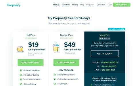 Screenshot of Pricing Page proposify.com - Proposify Pricing Plans | Proposify - captured Jan. 16, 2019