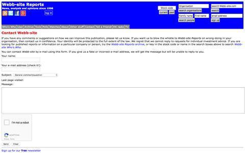 Screenshot of Contact Page webb-site.com - Contact Webb-site - captured Feb. 19, 2016