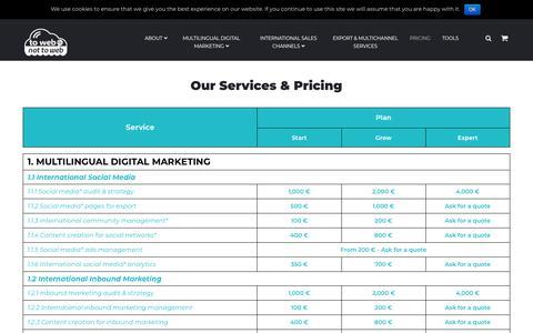 Screenshot of Pricing Page towebornottoweb.com - Pricing - ToWebOrNotToWeb - captured Aug. 2, 2018