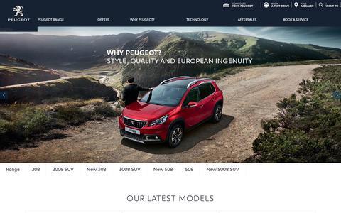 Screenshot of Home Page peugeot.com.au - PEUGEOT AU | New Cars and SUVs | Motion & Emotion - captured Sept. 27, 2018
