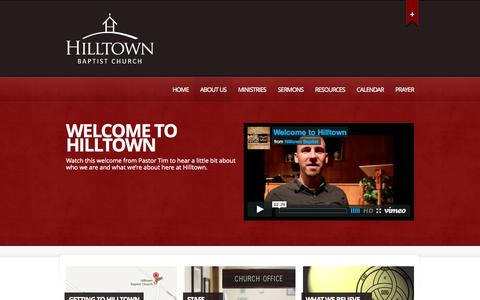 Screenshot of About Page hilltownbaptist.org - About Us | Hilltown Baptist Church | Becoming Fully Devoted Followers of Christ - captured Oct. 8, 2014