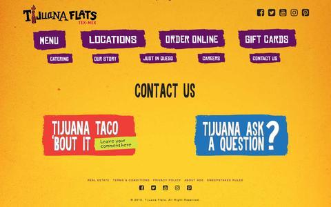 Screenshot of Contact Page tijuanaflats.com - Contact Us - Tijuana Flats - captured Dec. 6, 2016