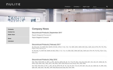 Screenshot of Press Page nulite-lighting.com - Nulite News - Nulite Lighting - captured Oct. 20, 2018