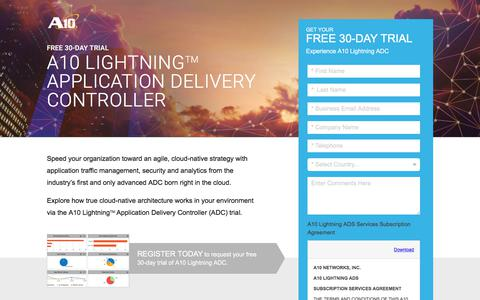 Screenshot of Trial Page a10networks.com - A10 Lightning Application Delivery Service Free Trial - captured March 27, 2018
