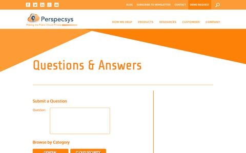 Screenshot of FAQ Page perspecsys.com - Questions & Answers | Perspecsys - captured Oct. 22, 2014