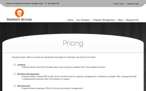Screenshot of Pricing Page propbutler.com - Rental Management Cost | Property Management Cost - captured Oct. 3, 2014