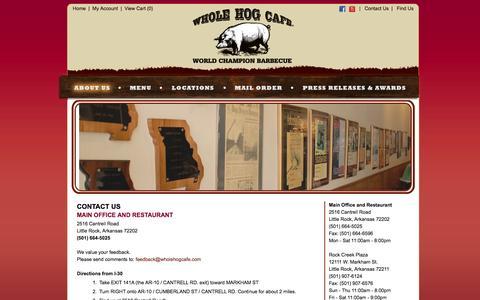 Screenshot of Contact Page wholehogcafe.com - Contact Us - Whole Hog Café - Little Rock, Arkansas - captured Oct. 9, 2014
