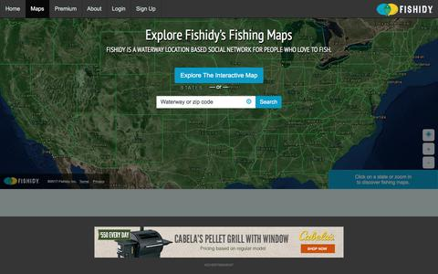 Screenshot of Maps & Directions Page fishidy.com - Online Fishing Maps & Charts - captured June 6, 2017