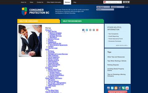 Screenshot of Site Map Page consumerprotectionbc.ca - Sitemap - captured Sept. 19, 2014