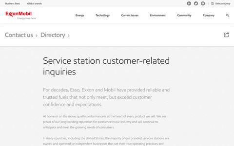 Screenshot of Support Page exxonmobil.com - Service station customer contacts | ExxonMobil - captured June 27, 2016
