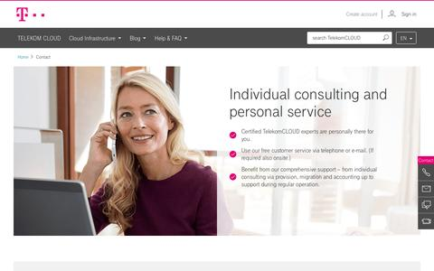 Screenshot of Contact Page telekom.de - Contact - TelekomCLOUD - captured Jan. 28, 2017