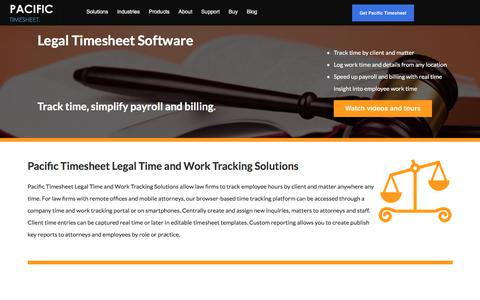Screenshot of Terms Page pacifictimesheet.com - Legal Timesheet Software | Pacific Timesheet - captured July 15, 2018