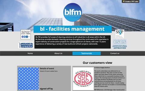 Screenshot of Testimonials Page bl-fm.co.uk - BLFM - Facilities Managment - cleaning services nationwide   Testimonials - captured Nov. 22, 2016