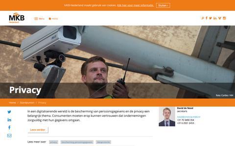Screenshot of Privacy Page mkb.nl - Privacy | MKB-Nederland - captured Dec. 31, 2017