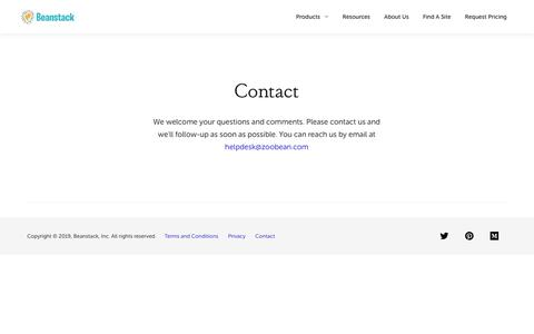 Screenshot of Contact Page beanstack.com - Contact — Beanstack - captured March 23, 2019