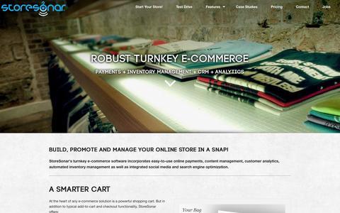 Screenshot of Home Page storesonar.com - StoreSonar | Turnkey E-commerce, Inventory Management, Marketing & Analytics - captured Oct. 7, 2014