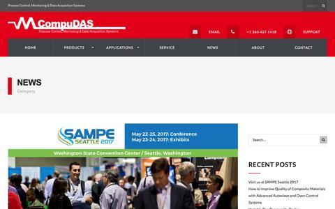 Screenshot of Press Page compudas.com - News Archives - Process Control & Data | Ovens, Autoclaves, Furnace, Presses | CompuDAS - captured May 20, 2017