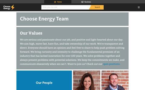 Screenshot of Team Page chooseenergy.com - Meet the team - Choose Energy - captured June 11, 2016