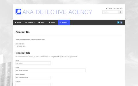 Screenshot of Contact Page akadetectiveagency.com - Contact Us - AKA Detective Agency   AKA Detective Agency - captured Oct. 4, 2014