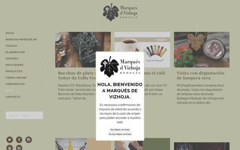 Screenshot of Blog marquesdevizhoja.com - Noticias - Bodegas Marqués de Vizhoja - captured April 15, 2018