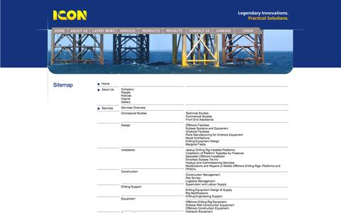 Screenshot of Site Map Page iconeng.com.au - ICON Engineering - Legendary Innovations. Practical Solutions. - captured Oct. 3, 2014