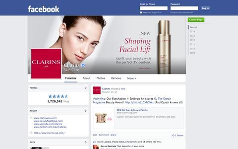 Screenshot of Facebook Page facebook.com - Clarins - New York, New York - Skin Care | Facebook - captured Oct. 22, 2014