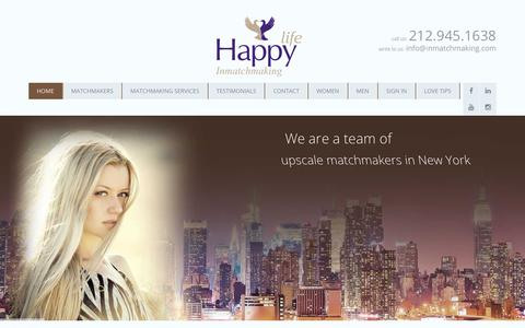 Screenshot of Home Page inmatchmaking.com - Professional Matchmakers in New York City, NYC, Matchmaking Services in NYC. We help you find love. - captured Oct. 1, 2018
