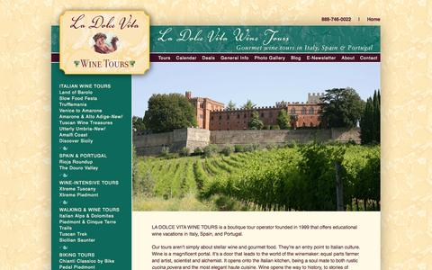 Screenshot of Home Page dolcetours.com - La Dolce Vita Wine Tours - captured Oct. 1, 2014