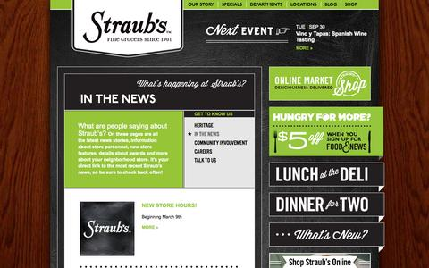 Screenshot of Press Page straubs.com - In the News | Straub's - captured Sept. 30, 2014