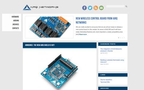 Screenshot of Developers Page airqnetworks.com - AirQ Networks Development Blog - captured Sept. 30, 2014