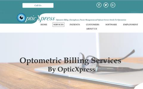 Screenshot of Services Page optometric-billing.com - Optometric Billing Services | Optometry Billing Servicesv| OpticXpress - captured July 9, 2018