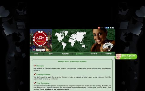 Screenshot of FAQ Page gntgaming.com - GNT GAMING - Turnkey Poker Room For Sale. Make Poker Room - Casino. Be Part Of The Online Poker And Casino Business - captured Sept. 27, 2014