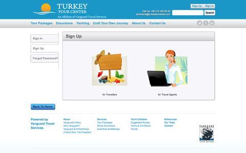 Screenshot of Signup Page turkeytourcenter.com - Turkey Tour Center - captured Oct. 9, 2014