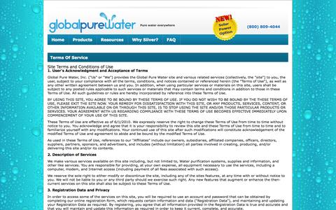 Screenshot of Terms Page globalpurewater.com - Terms Of Service   Global Pure Water - captured Sept. 30, 2014