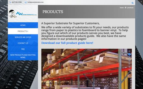 Screenshot of Products Page awsubstrates.com - Products - All Weather Products Company, LLC - captured Oct. 4, 2014