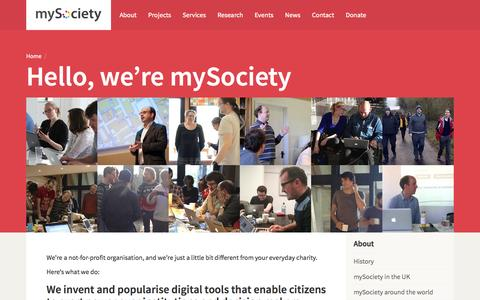 Screenshot of About Page mysociety.org - About / mySociety - captured June 17, 2015