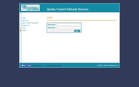 Screenshot of Login Page thdqc.com - THD Editorial, Inc., Quality Control Editorial Services - captured Oct. 6, 2014