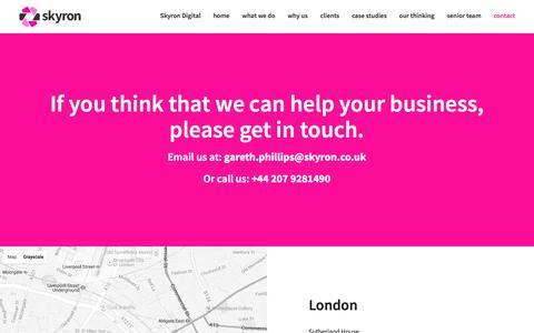 Screenshot of Contact Page skyronsolutions.co.uk - Skyron Solutions - Beautiful bespoke business software I UX focussed I Business Change I London | Bolton | Manchester  - Skyron - captured Feb. 22, 2016