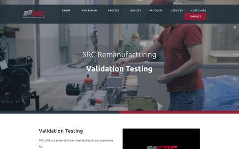 Screenshot of Services Page srcreman.com - Validation Testing — SRC Reman - captured July 26, 2018