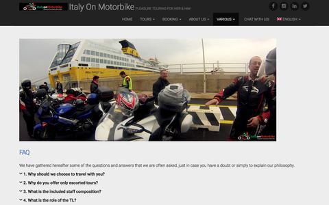 Screenshot of FAQ Page italyonmotorbike.com - FAQ - Italy On Motorbike - captured July 8, 2017