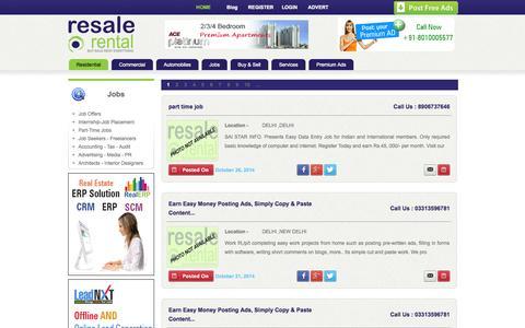 Screenshot of Jobs Page resalerental.com - Free Jobs Advertisement Sites In India - captured Oct. 26, 2014