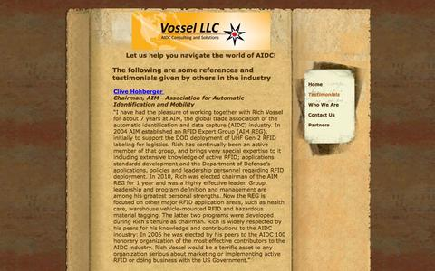 Screenshot of Testimonials Page vossel.com captured Oct. 26, 2014