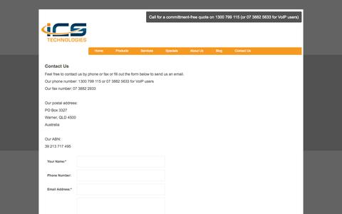 Screenshot of Contact Page icstech.com.au - How to contact ICS Technologies - captured Sept. 25, 2014