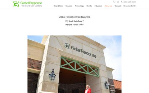Screenshot of Locations Page globalresponse.com - Call Center Locations - Global Response Headquartes, Fl and Mi - Global Response - captured July 14, 2016