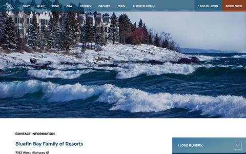 Screenshot of Contact Page bluefinbay.com - Contact Information | Bluefin Bay Family of Resorts - captured Feb. 11, 2018