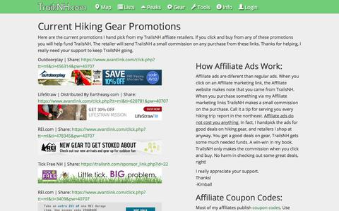 Screenshot of Support Page trailsnh.com - Current Hiking Gear Promotions | Trails NH - captured July 1, 2017