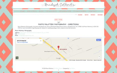 Screenshot of Maps & Directions Page photophlatteryphotography.com - Directions - Photo Phlattery Photography - Elizabeth City NC - captured Oct. 28, 2014